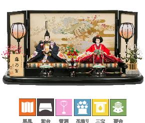 写真:ひな人形、屏風、飾台、雪洞、花飾り、三宝、貝桶