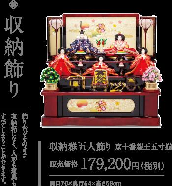 写真:ひな人形、収納飾り 飾り台がそのまま収納箱になり、人形も道具もすべてしまうことができます。 収納雅五人飾り 京十番親王五寸揃 販売価格 179,200円(税別)間口70×奥行54×高さ68cm 飾りやすく、しまいやすい 収納飾りは、飾り台の中にお人形やお道具をコンパクトに収納できます。
